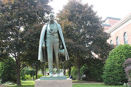 Sculptor Charles Tefft of Brewer, Maine, created this bronze statue of Hannibal Hamlin, which was dedicated in 1927 in downtown Bangor. Hannibal Hamlin statue, Bangor, ME IMG 2073.JPG
