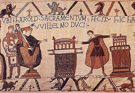 King Harold II of England (right) at the Norman court, from the Bayeux Tapestry Haroldoath.jpg