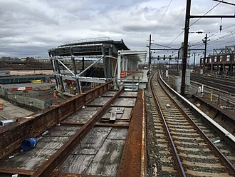 Harrison station (PATH) - Looking east at construction of Newark-bound (westbound) platform and station, April 2017