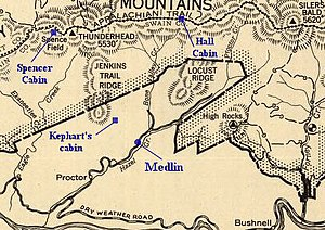 Our Southern Highlanders - 1940 map of the southwestern Smokies, modified to show points (in blue) mentioned frequently in Our Southern Highlanders