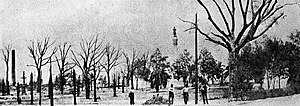 Hemming Park - Hemming Park after the Great Fire of 1901 showing Hemming's monument in the foreground.