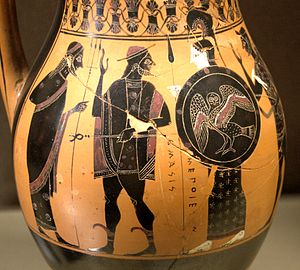 Herakles wearing a hat. Ancient Greek Attic black-figure olpe d86d4fb7ffb