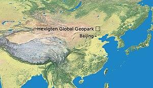 Heshigten Global Geopark - Location of Heshigten Global Geopark in China