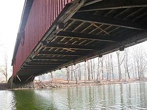Hillsgrove Covered Bridge - Underside of the bridge looking east, in 2012