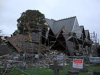 Holy Trinity Avonside - The 1876 part of the church, designed by Mountfort, collapsed while repairs were under way