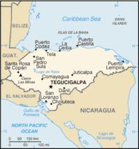 Tegucigalpas beliggenhed i Honduras.
