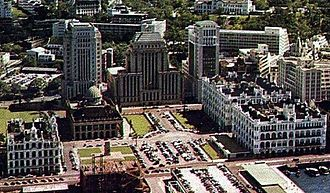 Statue Square - Statue Square in 1955. Prince's Building (first generation) and Queen's Building are visible on the right.
