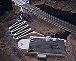 Hoover Dam Bypass Bridge Visitor Plaza, former Arizona-Nevada substation 2010-10-12.jpg