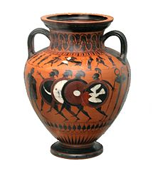 Vase with Greek soldiers in armor, circa 550 BC.