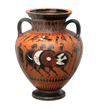 Aspis - Hoplitodromos with aspis and full body armour depicted in a Greek vase dated to 550 BC.