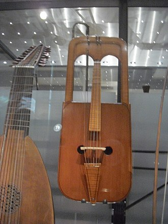 Crwth - A Crwth (foreground) in the Horniman Museum, London, UK.