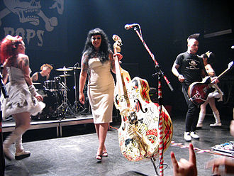 Patricia Day - HorrorPops frontwoman Patricia Day plays an elaborately decorated upright bass, a common instrument in psychobilly.