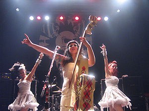 Patricia Day - Day performing with the HorrorPops in Montreal in 2006.