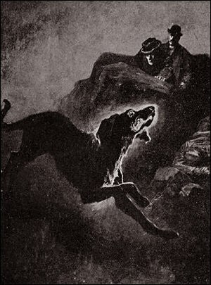 Black dog (ghost) - Sidney Paget's illustration of The Hound of the Baskervilles. The story was inspired by a legend of ghostly black dogs in Dartmoor.