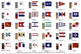 Funnel (ship) - Merchant shipping lines often painted their ships' funnels in distinctive colours to distinguish them from competitors. Here a selection of company house flags are shown with their associated funnel patterns (circa 1900).