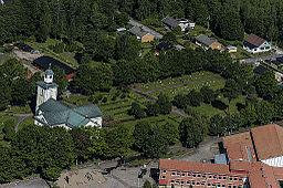 Luftfoto af Hovmantorps kirke