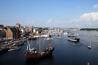 Mecklenburg-Vorpommern - Rostock was the major overseas port of East Germany, and is one of the most important Baltic Sea ports today. Pictured Hanse Sail is one of the world's largest maritime events.