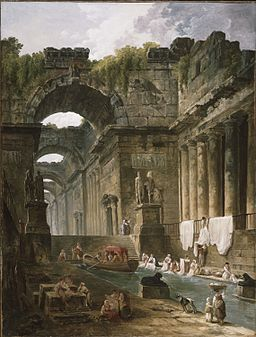 Hubert Robert - Ruins of a Roman Bath with Washerwomen