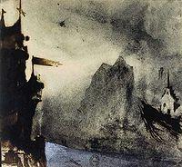 Le rocher de l'Ermitage, 1855, dessin de Victor Hugo
