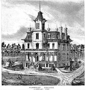 Humboldt College - Humboldt College sits atop Redford Avenue c. 1895