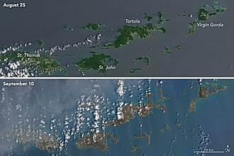 """Effects of Hurricane Irma in the British Virgin Islands - Satellite imagery before and after the passing of Hurricane Irma, showing the """"browning"""" of the landscape denuded of vegetation."""