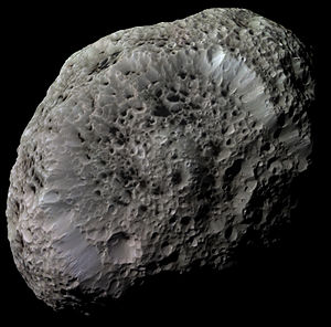 Hyperion (moon) - Hyperion with image processing to bring out details. Taken by the ''Cassini'' space probe.