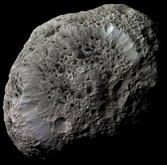Hyperion (moon) - Hyperion with image processing to bring out details. Taken by the Cassini space probe.