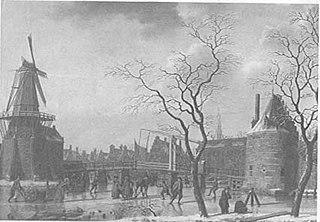 Winters gezicht op de Catharijnebrug te Haarlem