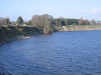 Poulaphouca Reservoir - Remains of excavations from the construction of Poulaphouca Dam