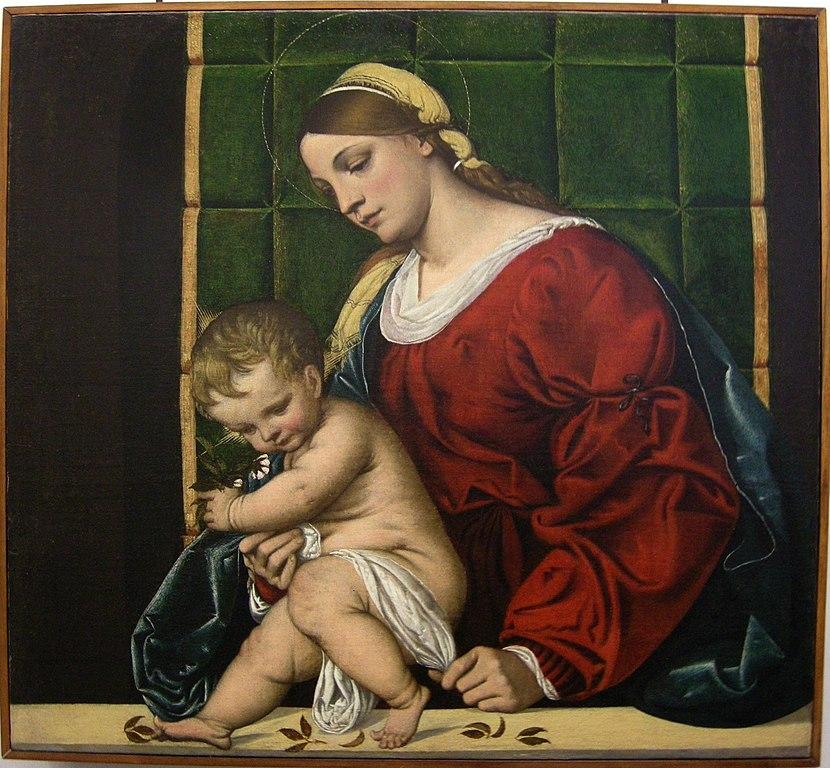 """""""Madonna con bambino"""" de Il Moretto au Palazzo Bianco - Photo de Sailko"""