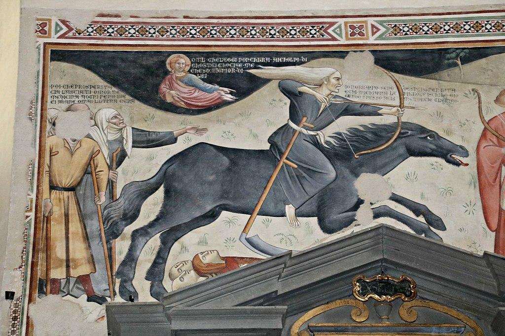 Bartolo di Fredi (1330-1410), Il trionfo della morte, (1360 ca.), affresco, Chiesa di San Francesco (Lucignano)