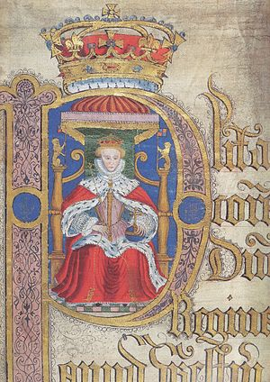 Queen's Bench - Illuminated initial membrane, with portrait of Elizabeth I, Court of King's Bench: Coram Rege Roll (Easter Term, 1584)