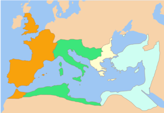Constantine II (emperor) - Division of the Roman Empire among the Caesars appointed by Constantine I: from west to east, the territories of Constantine II, Constans I, Dalmatius and Constantius II. After the death of Constantine I (May 337), this was the formal division of the Empire, until Dalmatius was killed and his territory divided between Constans and Constantius.