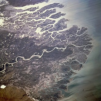 Indus River Delta - The Indus River Delta, as seen from space with Kori Creek shown at top.