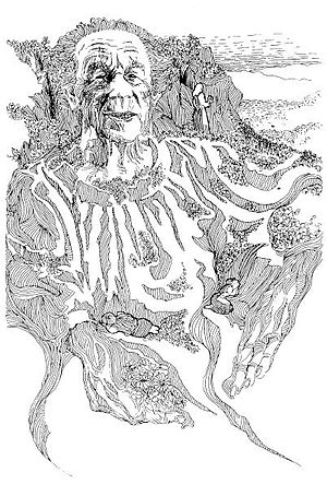Ingeborg Refling Hagen - Ingeborg as the roots and rock of culture, drawing by Oddmund Mikkelsen, 1985