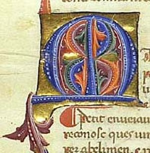 "Cançoner Gil - Initial ""M"" from a poem of Guiraut de Bornelh"