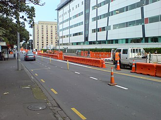 Central Connector, Auckland - Preparatory work during the construction period outside Auckland Hospital in July 2008 (as roads are only rarely reconstructed, underground services were also upgraded as part of the project).