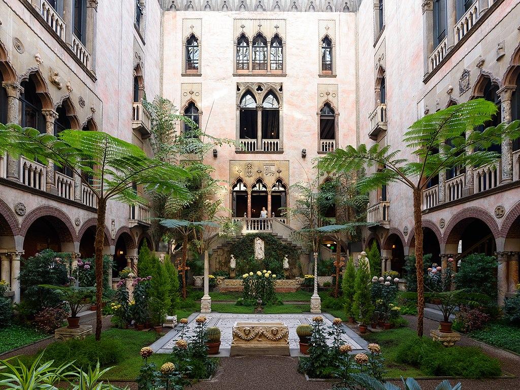 Courtyard of Isabella Stewart Gardner Museum, Boston, MA, USA.