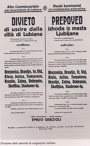 Province of Ljubljana - 1942 announcement that exiting Ljubljana is forbidden by Fascist Italian authority.