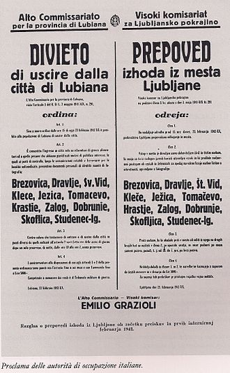 Province of Ljubljana - 1942 announcement that exiting Ljubljana is forbidden by Fascist Italian authority.