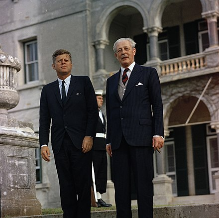 Macmillan and John F. Kennedy confer in 1961 JFKWHP-ST-A22-1-61 President John F. Kennedy with Prime Minister Harold Macmillan of Great Britain in Bermuda.jpg