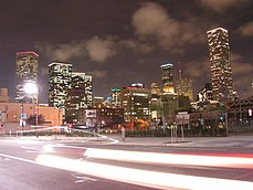 JPMorgan Chase Tower with Houston Skyline at night.jpg