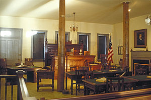Isaac Parker - Photo of Parker's courtroom reconstructed at the Fort Smith National Historic Site taken in 1966
