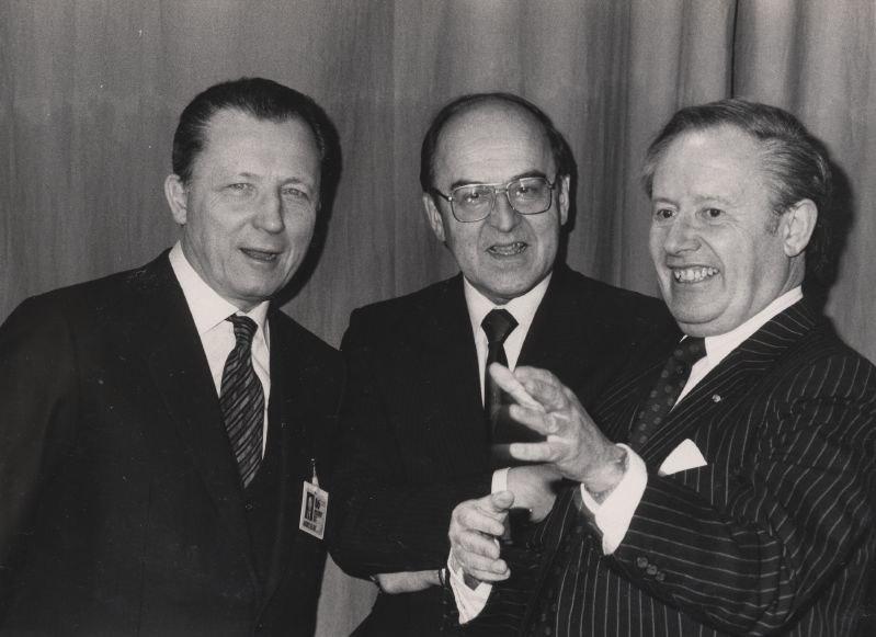 Jacques Delors, Kurt Furgler, Gaston Thorn, World Economic Forum 1986
