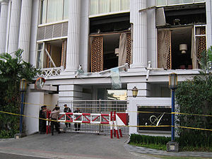 Terrorism in Indonesia - Damaged Ritz-Carlton Hotel in 2009 Jakarta bombings.