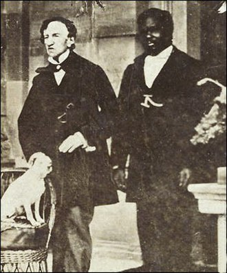 James Barry (surgeon) - Barry (left) with John, a servant, and Barry's dog Psyche, c. 1862, Jamaica