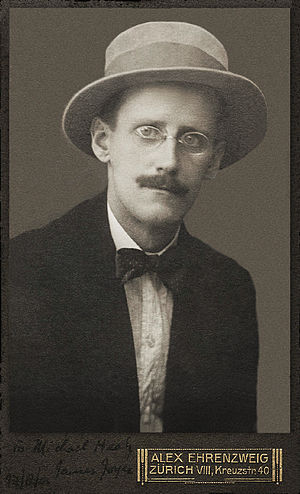 James Joyce, 1 photographic print, b&w, cartes...