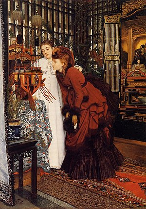 Japonism - Young Ladies Looking at Japanese Objects by the painter James Tissot in 1869 is a representation of the popular curiosity about all Japanese items that started with the opening of the country in the Meiji Restoration of the 1860s. Large number of artifacts came to the West and were exhibited and sold to an eager audience.