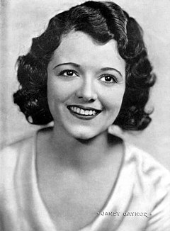 Janet Gaynor was the first winner in this category for her roles in 7th Heaven (1927), Sunrise: A Song of Two Humans (1927), and Street Angel (1928). Janet Gaynor Argentinean Magazine AD.jpg