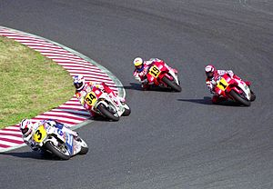 Kevin Schwantz - Mick Doohan (3) leads Schwantz (34), Wayne Rainey (1) and John Kocinski (19) at the 1991 Japanese Grand Prix